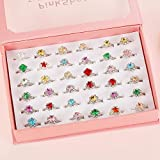 Powerking Anello per Bambini, 36 PCS Regolabile per Bambine e Bambini Anelli con Diamanti per Gioielli Set e Finta Play Dress Up Rings, Sparkle Rhinestone Ring