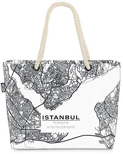 VOID Istanbul Karte Strandtasche Shopper 58x38x16cm 23L XXL Einkaufstasche Tasche Reisetasche Beach Bag