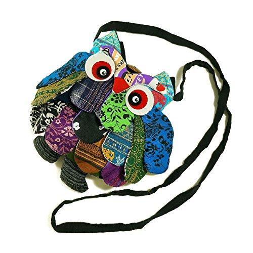 "TOP Asian Souvenirs Owl Cross-Body Bags Square Adorable Patchwork 10"""