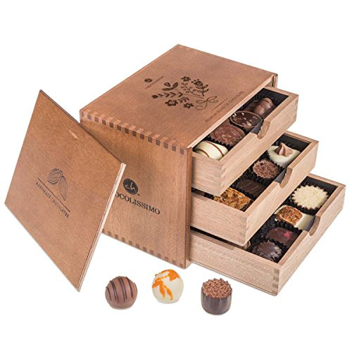 ChocoGrande - Ladies - 30 cioccolatini esclusivi Regalo in scatola di legno | Praline cioccolato | Dolci natalizi | Compleanno | Donna | Donne | Festa della mamma | Deliziose | Regalo San Valentino