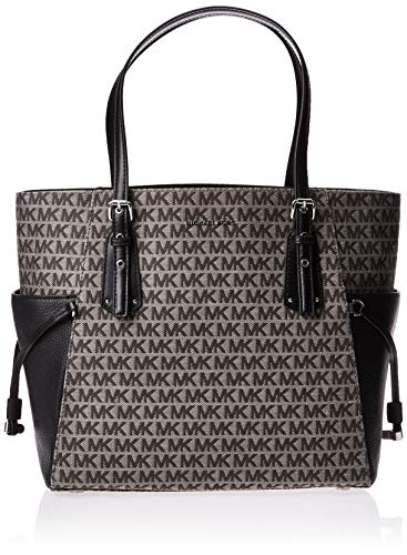 "Laptop Compatible (std size 13"") Tote bag , Open top Bag Contrast slip pockets further define the classic-chic style of an upright and well-organized MICHAEL Michael Kors tote in signature MK leather. MK Signature Twill Lined leather (PVC/PL/CO/PU); ..."