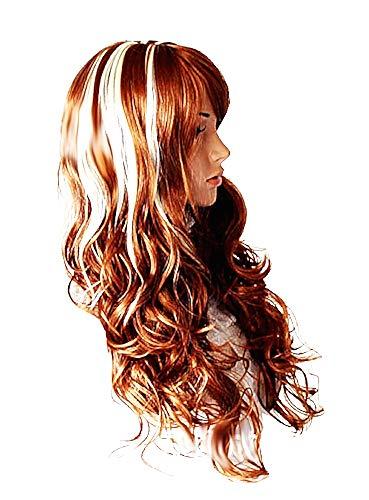 Lange pruik - golvend - synthetisch haar - vrouwelijk - vrouw - 72 cm - vermomming - carnaval - halloween - bruin met witte maches - accessoires - origineel cadeau-idee cosplay
