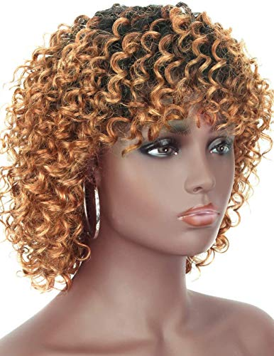 """Beauart Human Hair Wigs for Black Women 12"""" Ombre Black to Brown 100% Brazilian Remy Full Head Wave Curls Hair Wig with Bangs"""