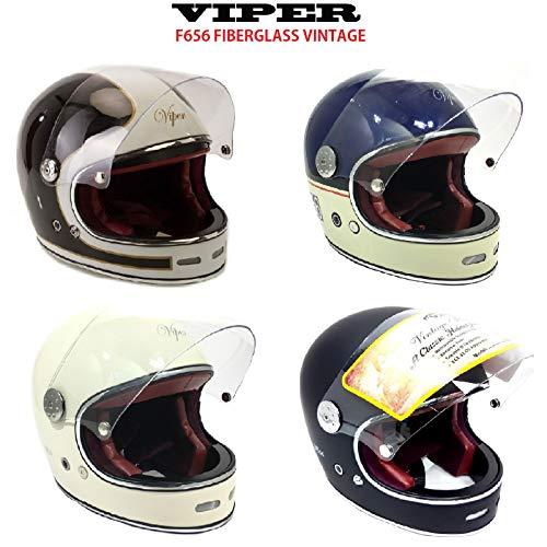 Neu Fiberglas-Helm Viper F656 Motorrad Integralhelme Vintage Vollgesichts-MotorradHelm Classic Custom Chopper, Bobber Retro Stil Helme (Midnight Blau/Creme,L)