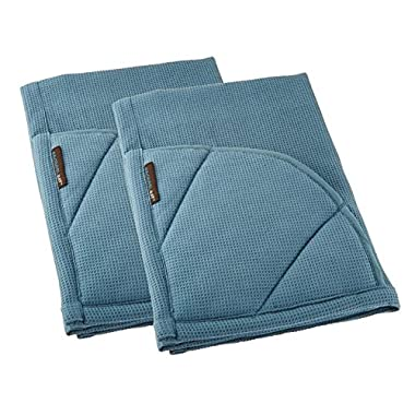 Rachael Ray Multifunctional 2-in-1 Moppine, Ultra Absorbent Kitchen Towel & Heat Resistant Pot Holder, Smoke Blue (Pack of 2)