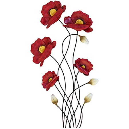 Décoration murale de 66cm Branches de coquelicots rouges - Article 673473