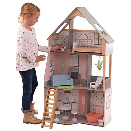 KidKraft Casa Alina in Legno Adatta per Bambole di 30 cm, 15 Accessori Inclusi, 3 Livelli di Gioco, 10229