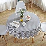 Meiosuns Mantel Redondo Mantel a Rayas Mantel de algodón Simple Uso Interior y al Aire Libre (Diámetro 150cm, Rayas Azules/Blancas)