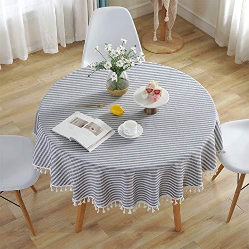 Meiosuns Runde Tischdecke Gestreifte Tischdecken Fringe Tischläufer Einfache und Elegante Heimtextilien für den Innen- und Außenbereich (Durchmesser 150 cm, Blaue/weiße Streifen)