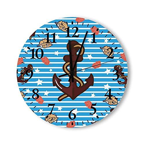 Reloj de pared de madera funciona con pilas, 15 pulgadas, ancla y conchas, decoración moderna para cocina para baño, sala de estar, dormitorio, no hace garrapatas
