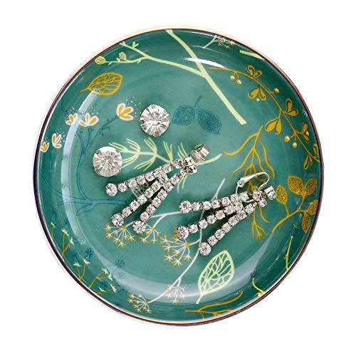 Ceramic Jewelry Tray Ring Dish - Bohemian/Boho Ring Dish Jewelry Dish Decorative Trinket Plate, Jewelry Organizer Dish Ring Dish Holder Small (Green)