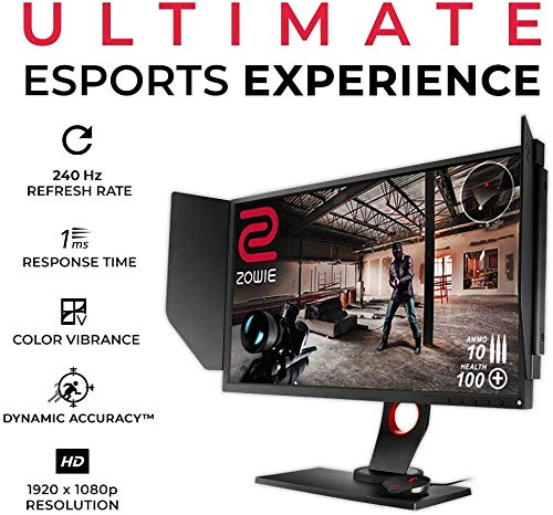 BenQ ZOWIE XL2546 - Monitor Gaming de 24.5' FullHD (1920x1080, 1ms, 240Hz, HDMI, Tecnología DyAc, Black eQualizer, Color Vibrance, S Switch, Viseras, DP, DVI-DL, Altura Ajustable) - Gris