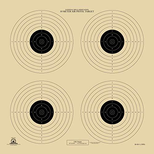 HA Outlet 10 Meter Shooting Target - Official NRA B 40/4 - Air Pistol - Rifles - Pistols, BB Guns - Paper Target- 4 Bullseye - (50)