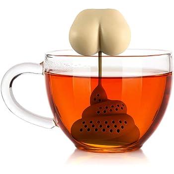 Sahgsa Silikon Nette Poop Form Tea Leaf Herbal Strainer Filter Infuser Taschen Spielzeug Tragbares Teesieb