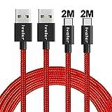 iVoler Cable USB Tipo C a USB A 3.0 [2 Pack: 2M+2M] Cargador USB Tipo C de Nylon Trenzado Carga Rápida y Sincronización Compatible con Samsung, Xiaomi, Huawei y Más (Rojo)