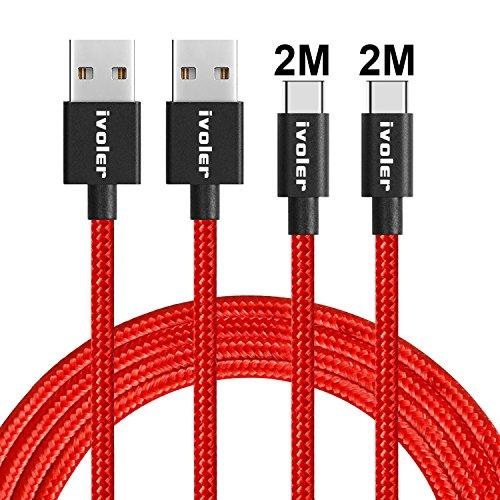 iVoler USB C Kabel auf USB 3.0 - [2 Stück: 2m+2m] Datenkabel - Schnelles Aufladen und Synchronisation - Nylon Geflochtene USB Typ C Ladekabel Kompatibel für Typ C Geräte - Rot