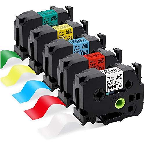 Suminey kompatible Etikettenband als Ersatz für Brother TZe251 TZe451 TZe551 TZe651 TZe751 24mm Laminiertes Klebeband (weiß/Rot/blau/gelb/grün) für Brother P-Touch D600 P700 D600VP 2400 2430PC