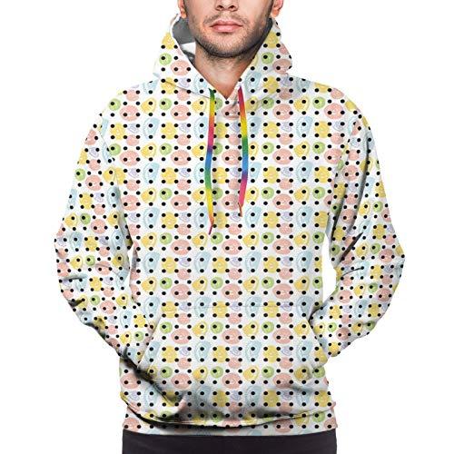 FULIYA Men's Hoodies Sweatshirts,Colorful Scribble Rounds and Dark Color Polka Dots Modernistic Cute Print,Large