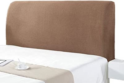 Headboard Cover for Queen Size Bed Twin Full California King Beds Protector Dustproof Velvet Upholstered Anti-Dirty Washable Furniture (Color : Khaki, Size : 220cm/86.6in)