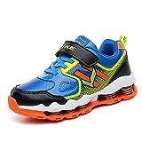 VITIKE Kids Hook and Loop Sneaker Cool Running Shoes Grade School Boys Fashion Athletic Sports Sneakers Blue/Black/Orange, Big Kid 4.5