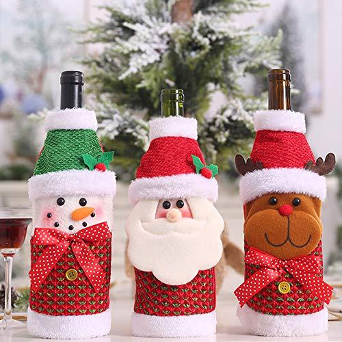 Copribottiglia di vino natalizio, 3 pezzi, a forma di alce di Babbo Natale, pupazzo di neve,...