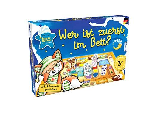 Noris 606011729 Schlafmützen, Wer ist zuerst im Bett – Laufspiel inkl. 3 Gutenachtgeschichten, für Kinder ab 3 Jahren