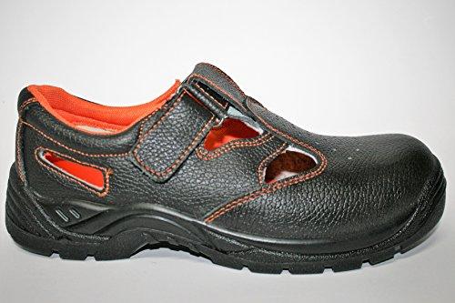 Neosafety f1012 pointe en acier, cuir, talon haut hydrofuge avec ressort, anti-statique – , Sola anti-perforante, noir/orange