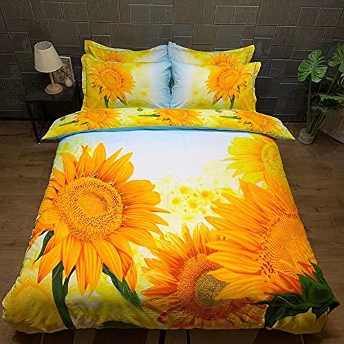 Bedclothes-Blanket bettbezug 180 x 200,3D-Satz von dreidimensionalen gelben Sonnenblumen-Vier-teiligen Bettwäsche-G_1,5m Bett