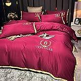 juego de funda de edredón 3d,Lavar el conjunto de cuatro piezas de seda, cómoda sedosa cama de verano reversible de una sola almohada de la cama de la almohada Suministros de cama regalo-Qi_1,8 m de