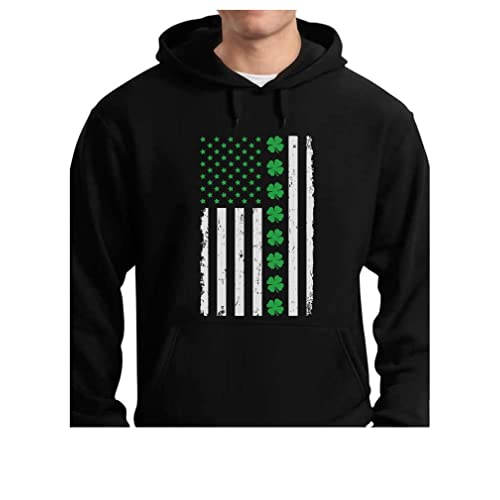 TeeStars - St. Patricks Day Big Irish American Flag with Clovers Hoodie