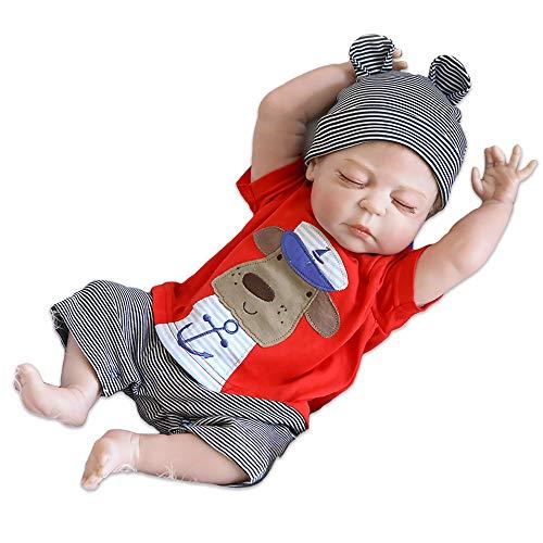 iCradle Silikon Ganzkörper Silikon Baby Puppe Weiche 18 Zoll / 23 Zoll Reborn Babypuppe Look Echte Nette Lebensechte 45cm/57cm Baby Doll Toddler Junge (23
