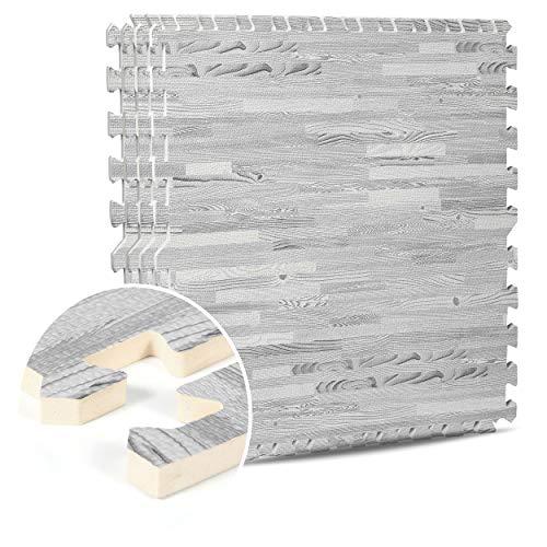 Interlocking EVA Foam Mats Light & Dark Wooden Floor Effect Gym Play Home Workout Soft Tiles Mat 12mm (60x60cm) (White Oak, 64 SQ Ft / 16 Mats)