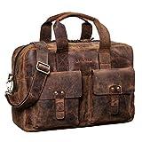 STILORD 'Anouk' Vintage Umhängetasche Leder Gross 13,3'' für Herren Damen Laptoptasche Schultertasche DIN A4 Aktentasche Hochwertiges Echtleder, Farbe:Sepia - braun Plain
