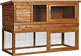 Großer Kleintierstall 'de Luxe' mit Freigehege, extra hoch mit drei Türen, mit Styropor-Isolierung, 163,5 x 71,5 x 104,5 cm, Kiefer