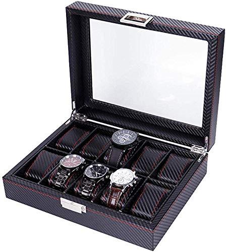 HJ Inicio Caja de almacenamiento de joyas Pu Cuero Fibra de carbono Caja de reloj de 10 bits Caja de exhibición de almacenamiento de pulsera de joyería