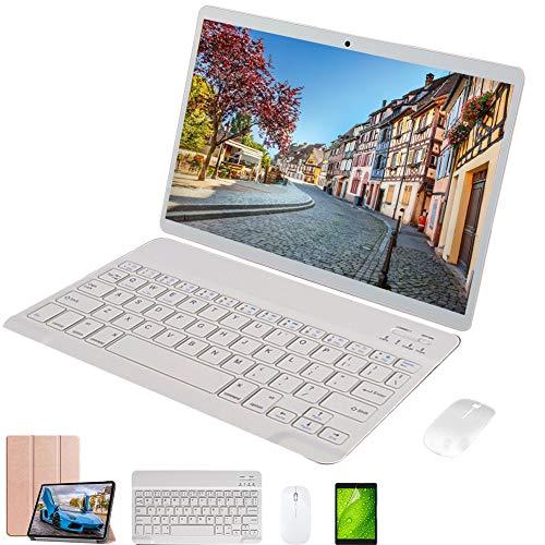 Tablet táctil 4G Android 9.0 64 GB ROM 4 GB RAM Tablet 10 pulgadas con teclado WiFi Dual SIM Octa-Core doble cámara Voukou (oro con teclado)