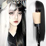 Kaneles Half Black Half White Wig with Bangs long straight Hair Cosplay Natural Wavy Wig for Girls Cosplay Party Show
