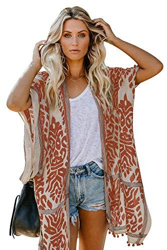 MAX MALL Damen Sommer Kimono Elegante Lässige Sommerjacke Kurzarm Pom Pom Urlaub Cardigan Tops Strand Cover Up (Einheitsgröße, Orange)
