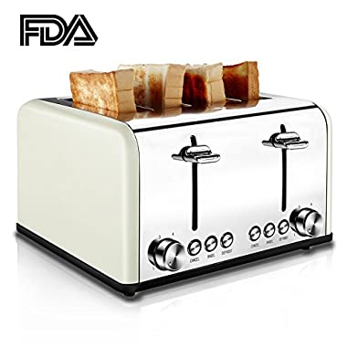 4 Slice Toaster, TOBOX Extra Wide Slots Toasters Stainless Steel Four Slice Toaster, Bagel/DEFROST/CANCEL Function, 1650W, Cream