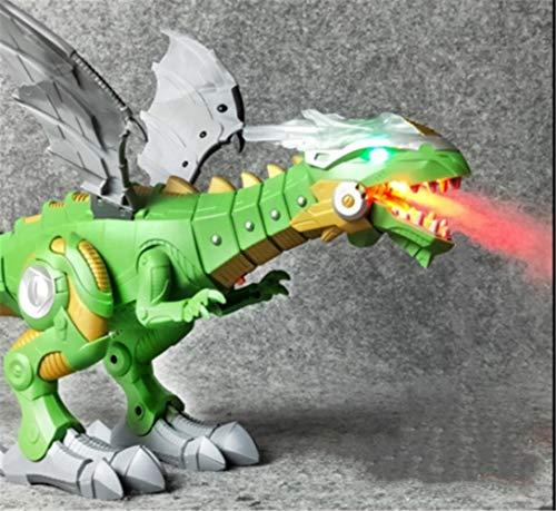 Juguete híbrido dinosaurio-dragón que camina, juguete del dragón que camina, dinosaurio del aerosol de agua que respira fuego, juguete del dragón que respira fuego, juguete del robot dragón (Green)