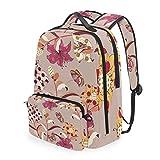 花蝶アートショルダー バックパック メッセンジャー クロスボディ ラップトップ バッグ 学生 スクールバッグ ブックバッグ 女の子 男の子 用