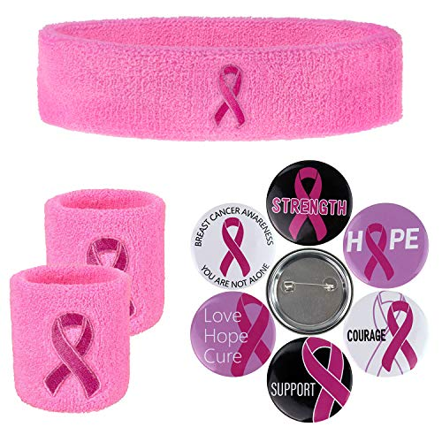 Pink Ribbon Sweatbands & Breast Cancer Awareness Pink Ribbon Round Buttons in 6 Various Design, for Tennis, Working Out, Gym - 1 pc pink Headband & 2 pcs Pink Wristband & 6 pc Pink Ribbon Buttons Set