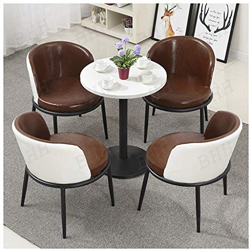 Leisure Table and Chair Set Lounge Table and Chair Combination Coffee Shop Milk Tea Shop Western Restaurant Hotel Home Room Study Room Room Dessert Shop Supermarket Library (Color : Brown)