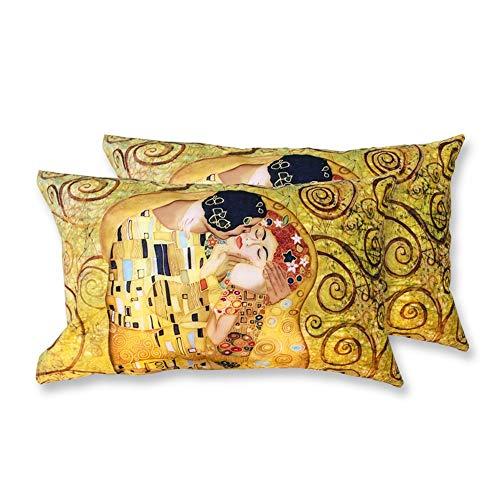 Coppia Federe Per Guanciale Il Bacio Klimt I Love Sleeping Stampa Digitale 3D Cotone GIOSAL