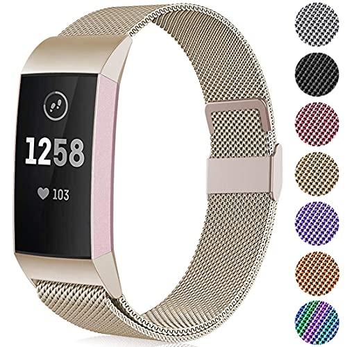 Correa de repuesto de metal compatible con Fitbit Charge 3/Fitbit Charge 4, correa ajustable de acero inoxidable para mujer hombre, pequeño grande (oro vintage, S 5.5-7.1 pulgadas)