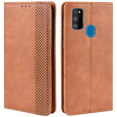 HualuBro Handyhülle für Samsung Galaxy M30s Hülle, Galaxy M21 Hülle Leder, Stoßfest Klapphülle Schutzhülle Handytasche LederHülle Flip Hülle Cover für Samsung Galaxy M30s Tasche, Braun
