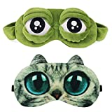 Sleep Mask for Girls Women Men Kid Funny Cute Contoured Blackout Frog Cat Dog Animal 3D Sleep Eye Mask for Sleeping 2 Pack HDYA