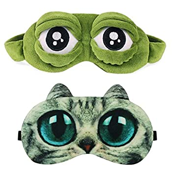 Sleep Mask for Girls Women Men Kid Funny Cute Contoured Blackout Frog Cat Dog Animal 3D Sleep Eye Mask for Sleeping 2 Pack HDYA