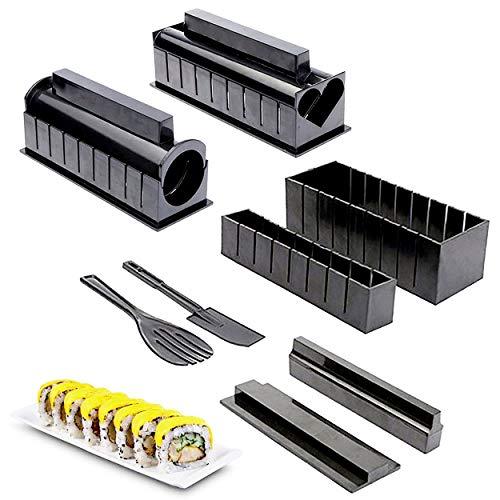 INHEMI Kit para Hacer Sushi,10 Piezas Sushi Maker Kit, 5 Formas únicas de Molde de Rollo de Arroz