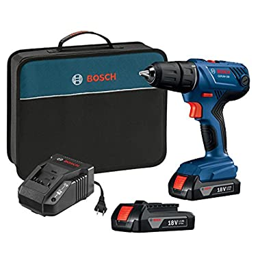 Bosch GSR18V-190B22 18V Compact 1/2  Drill/Driver Kit with (2) 1.5 Ah Slim Pack Batteries